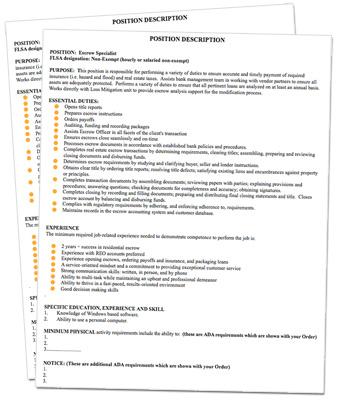 Job Descriptions Sample for Banks